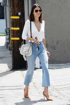 The perfect cropped flare jean for work