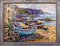 Мозаичная картина Лодки на пляже