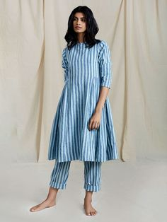 Peach Handloom Mulmul Striped Cowl Tunic with Short Slip Cotton Pants - Set of 2 Simple Kurti Designs, Kurta Designs Women, Blouse Designs, Cotton Dresses Online, Pakistani Fashion Casual, Indian Fashion, Indian Designer Outfits, Designer Dresses, Dress Indian Style