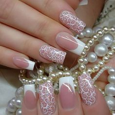 In this post, you can see the Funky French Nail Art Designs. Here I present the latest french nail designs see this and select best French Nail Art for you. Lace Nail Design, Lace Nail Art, Lace Nails, Wedding Nails Design, Nail Art Designs, Wedding Manicure, Nail Wedding, Jamberry Wedding, Floral Designs