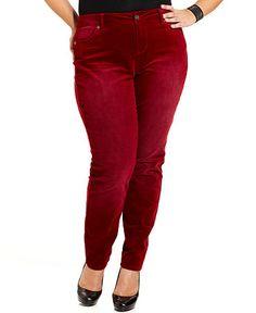 Hot Kiss Plus Size Pants, Corduroy Skinny