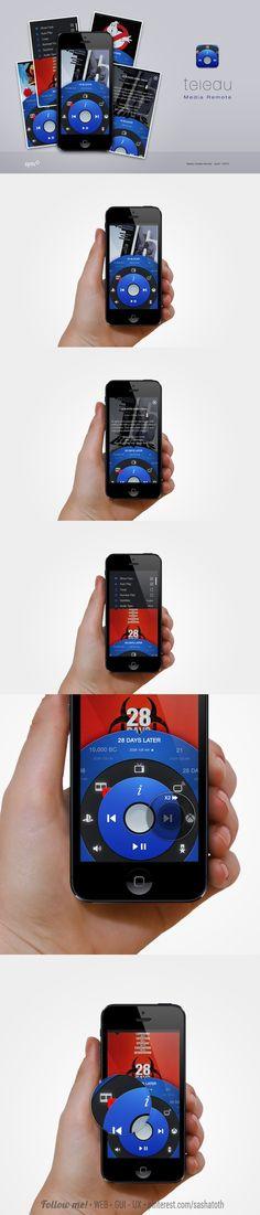Teledu IOS media remote app concept by Ryan Jones *** #app #iphone #gui #ui