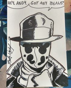 I drew a #Rorschach sketch for Andy. He didn't have any beans though.  #FreeComicBookDay at #GalacticQuest #FCBD #FCBD2016  #Watchmen #DCComics