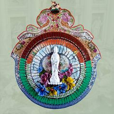 """FLOWERS OF QUAN YIN"" Mosaic Shrine made by Susan Wechsler"