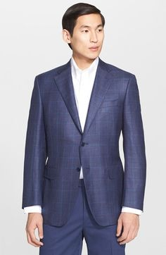 Canali Classic Fit Plaid Wool Blend Sport Coat available at #Nordstrom