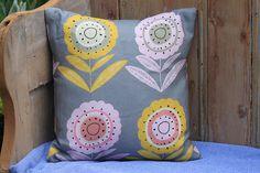 Cushion with screenprinted Annabel Grey fabric