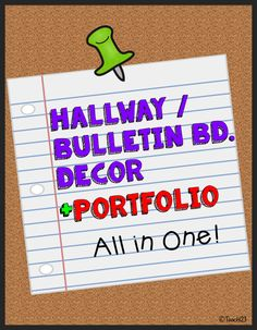 Bulletin Board - Hallway Decoration + Portfolio: All in One! Save yourself tons of time with this easy to maintain bulletin board for the hallway. It also works as an ongoing portfolio. Portfolio printables are also included with this packet. Pull out your students' packets each quarter, staple into a book, and you're ready for Open House. Another time saver! paid