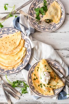 Mushroom Crêpes with Poached Eggs Recipe - A simple yet stunningly elegant dish you can serve up anytime of the day! Breakfast Dishes, Breakfast Time, Vegetarian Breakfast, Breakfast Recipes, Vegetarian Recipes, Egg Recipes, Brunch Recipes, Cooking Recipes, Churros