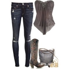 Sexy tube top /w cute boots..... would be a great outfit if I were 100lb lighter but a girl can dream
