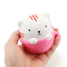 Squishy Teacup Cat 9cm Soft Slow Rising Cute Animals Cartoon Collection Gift Decor Squeeze Toy