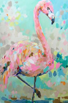 Brooke Ring - Flamingo Painting - Party Animals Painting Collection - Perfect colorful piece for any room in the house! Would be the perfect decor for a girl's nursery and could transition to big girl room decor! Flamingo Painting, Flamingo Art, Pink Flamingos, Arte Pop, Bird Art, Painting & Drawing, House Painting, Body Painting, Painting Inspiration