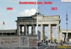 The Brandenburg gate then and now. So much has changed since then, on one point to the good but also for the worse as well. Germany has lost so much of its identity in such a short span of time after It's saddening. West Berlin, Berlin Wall, East Germany, Berlin Germany, Berlin Ick Liebe Dir, Brandenburg Gate, Before After Photo, Marie Curie, Europe