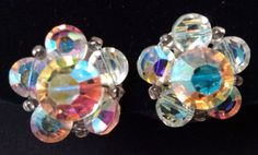 Aurora Borealis Crystal Clip On Earrings Brilliant Colors Unsigned VGC #unknown #clipon