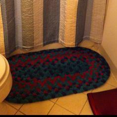 Old towels + a little braiding = new bathmat.