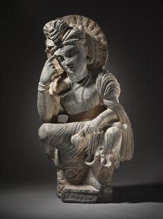 Pakistan, Gandhara region  Pensive Bodhisattva, circa 200-300  Sculpture; Stone, Gray schist, 22 x 11 x 6 1/4 in. (55.88 x 27.94 x 15.88 cm)