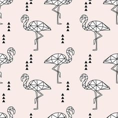 Geometric Flamingo // pale pink fabric by littlearrowdesign on Spoonflower - custom fabric