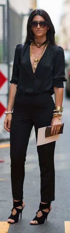 Euro chic in all black & gold accessories. Love  the whole look except for the choker band - that can GO!
