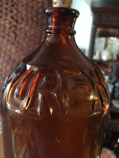 Antique Large Brown Glass PUREX Bottle, Inlaid PUREX, no chips or cracks, great condition by PaintedLadyAntiques on Etsy