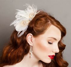 Bridal Feather Hairpiece. Bridal Fascinator, Ivory Peacock Feather Headpiece. Wedding Fascinator, Bridal Headpiece, Feather Hair Accessory. via Etsy.
