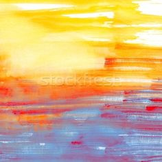 Watercolor Background | Stock photo : Blue and orange watercolor background, scanned in high ...