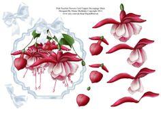 Fuschia Flowers Decoupage Card Topper Sheet by DigitalHeaven, £0.70