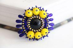 Glass blue yellow brooch women accessories by RasaVilJewelry