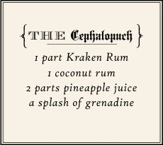 "Learn how to make The ""Cephalopunch"" with this recipe: 1 part Kraken Rum, 1 part coconut rum, 2 parts pineapple juice, A splash of grenadine Booze Drink, Wine Drinks, Cocktail Drinks, Alcoholic Drinks, Cocktail Recipes, Rum Recipes, Alcohol Recipes, Smoker Recipes, Punch Recipes"