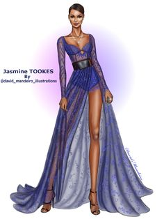 Jasmine Tookes wearing Lethicia Bronstein blue lace dress at the #mtvmovieAwards #digitaldrawing by David Mandeiro Illustrations Wacom