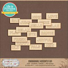 LIP: Engravable Accents v.01 - Peppermint Creative, Digital Scrapbook Supplies #projectlife