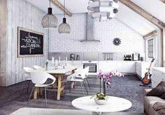 papier peint brique blanche et moderne dans la cuisine ouverte sur le salon