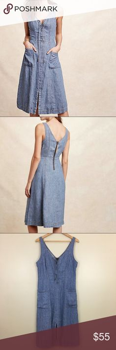 Holding Horses Lace Up Denim Dress Atoll In great condition! Feel free to ask for measurements :) Anthropologie Dresses Midi