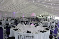 Party Party Party! Fairy lights, light changing centre pieces and purple carpet!