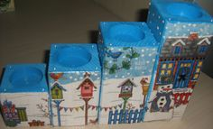 Decoupage Christmas candle holder.  Just like our cube candle holders.