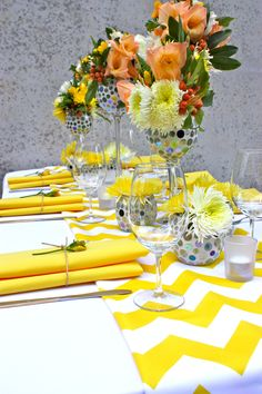Love the yellow! - Styling by Decor It Events and Ambrosia Floral Designs, Melbourne  www.decorit.com.au