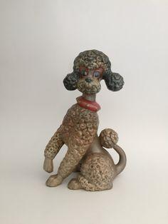 Vintage Hand Painted Brown/Beige/Gray Ceramic Poodle Dog; Poodle Dog Figurine; Ceramic Dog; Vintage Poodle Dog; Poodle Statue by Speckadoos on Etsy