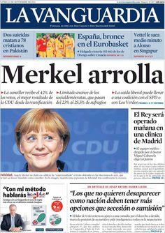 Los Titulares y Portadas de Noticias Destacadas Españolas del 23 de Septiembre de 2013 del Diario La Vanguardia ¿Que le pareció esta Portada de este Diario Español?