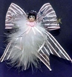 Pink and White Striped Angel, Handmade Angel, Feather Angel,Gift Topper, Party Favor, Ornament, Angel