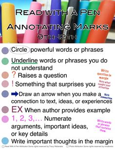 Read with a Pen Annotating Marks School Life Hacks, School Study Tips, School Tips, Reading Strategies, Reading Comprehension, Reading Aloud, Note Taking Strategies, Reading Tips, Guided Reading