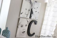 Pictures & letter wall art idea