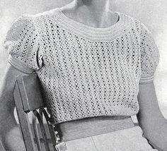 Summer Mesh Blouse Pattern Handmade Sports Wear, Book No. The Spool Cotton Company Original Copyright 1934 Vintage Crochet Dresses, Vintage Crochet Patterns, Vintage Knitting, Hand Knitting, Mode Crochet, Crochet Diy, Crochet Tops, Crochet Ideas, Crochet Projects