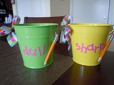 love the idea of hot gluing an example of dull and sharp to the pencil cups! Great for ELLs