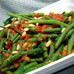 """Spanish Green Beans and Tomatoes I """"My husband and I liked it very much! The combination of garlic, tomatoes (I used fresh ones) and beans was so delicious. Definitely a keeper!"""""""