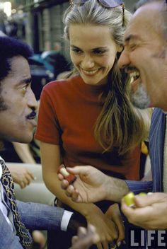 "Sammy Davis Jr. & Peggy Lipton on the set of The Mod Squad (Season 1, Episode 23: ""Keep The Faith, Baby"" aired March 25, 1969, ABC)"