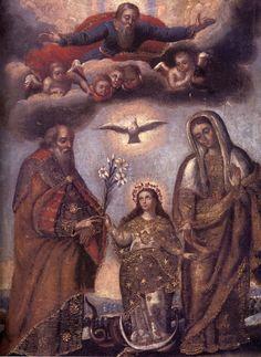 Anónimo, La Virgen y sus padres, siglo 18, Óleo sobre lienzo. Lambarri Orihuela-Collection, Cusco, Perú