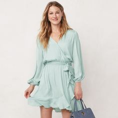 Women's LC Lauren Conrad Balloon Sleeve Wrap Dress, Size: Large, Med Blue