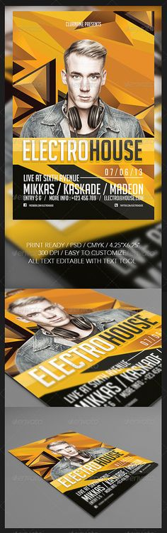 """Electro House Flyer #GraphicRiver Electro House Flyer PSD File Easy To Customize All Text Editable With Text Tool Print Ready 300 dpi CMYK 4×6"""" + 0.25"""" bleed Userguide available in package download Model not included. Available on Photodune. link on zip file Font Used : Big Noodle Titling Social Logos Download link font available in package download Contact Me Email : rizign@gmail Facebook : Rizign Twitter : Riz Ritzkie Follow For Updates Thanks For Purchasing Created: 8July13…"""