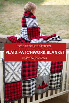 Crochet Plaid Patchwork Blanket - Free Crochet Pattern This pretty crochet blanket pattern includes 5 unique squares to make a lovely, rustic completed crochet blanket. Mix and match your favorite squares to make it all your own. Plaid Patchwork, Plaid Crochet, Patchwork Blanket, Lap Blanket, Christmas Crochet Blanket, Crochet Owls, Crochet Afghans, Crochet Blanket Patterns, Crochet Stitches
