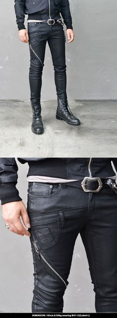 Bottoms :: Jeans :: Unbalance Double Crotch Zip Coating Biker-Jeans 255 - Mens Fashion Clothing For An Attractive Guy Look