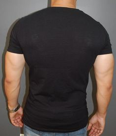 E1 Men Faux Leather Buckle Ribbed T-shirt - Black