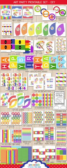 Art Party Printable -Huge Party Set by Amanda's Parties TO GO